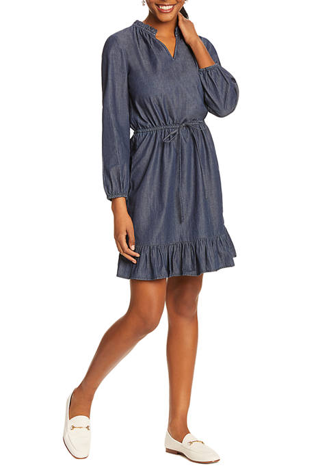 Draper James Womens Chambray Popover Dress