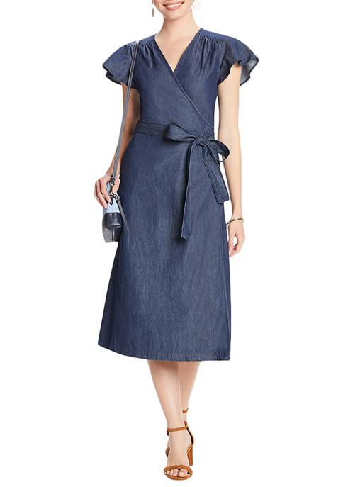 Womens Chambray Midi Wrap Dress