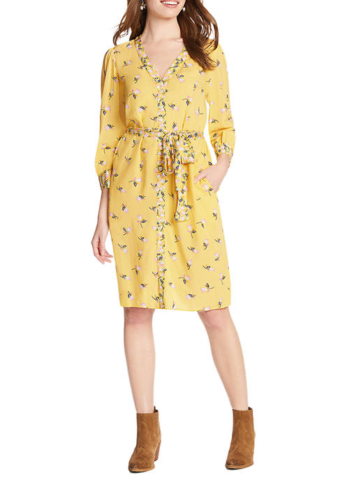 Draper James Womens Floral Button Front V-Neck Dress