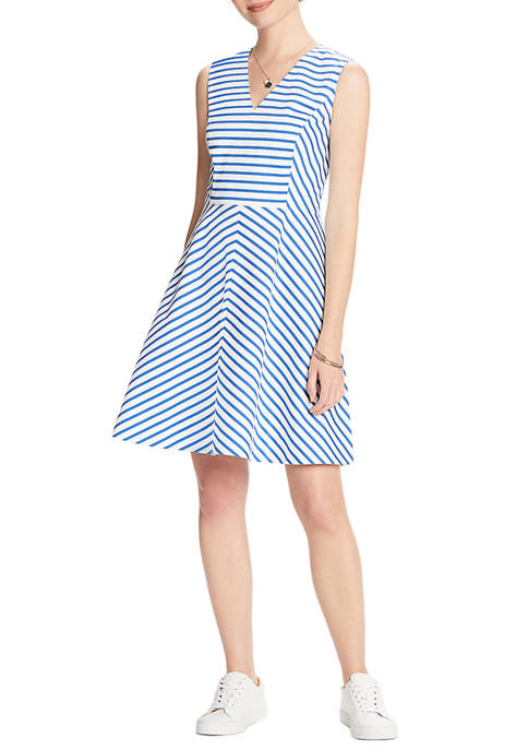 Draper James Womens Sailor Stripe V-Neck Sleeveless Love