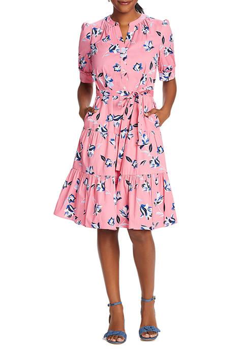 Draper James Womens Floral Button Front Midi Dress
