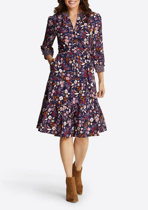 Womens Tie Waist Button Front Dress