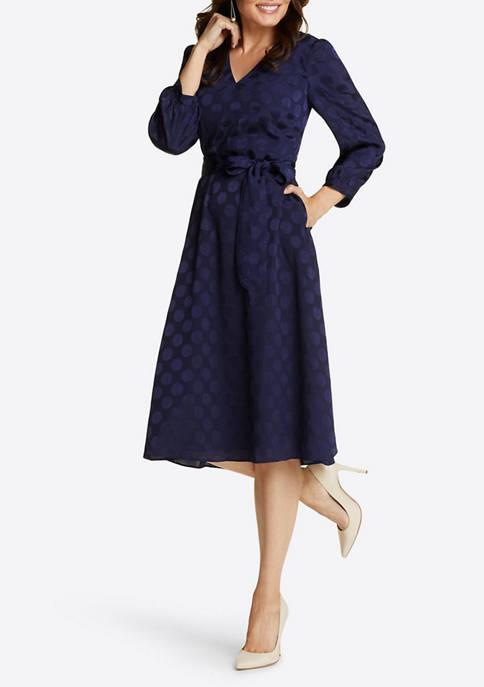 Womens Tie Waist V-Neck Midi Dress