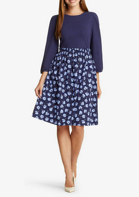 Womens Long Sleeve Knit to Woven Floral Dress