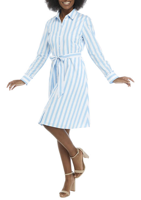 Draper James Womens Long Sleeve Striped Button Up