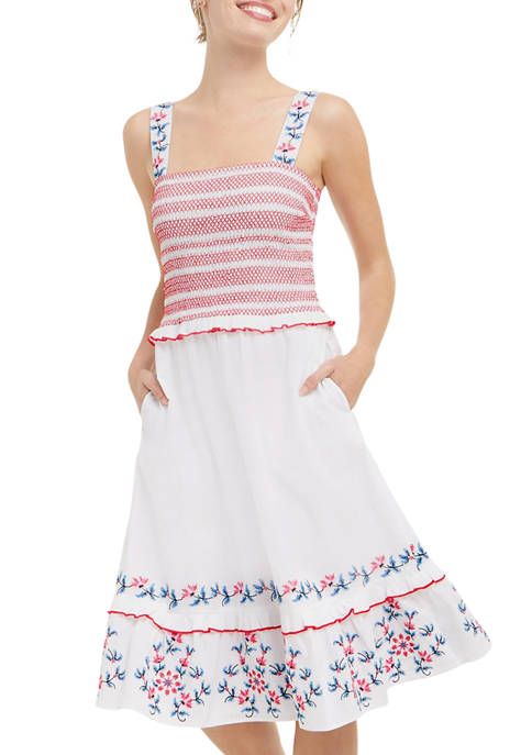 Draper James Womens Taylor Smocked Dress in Embroidered