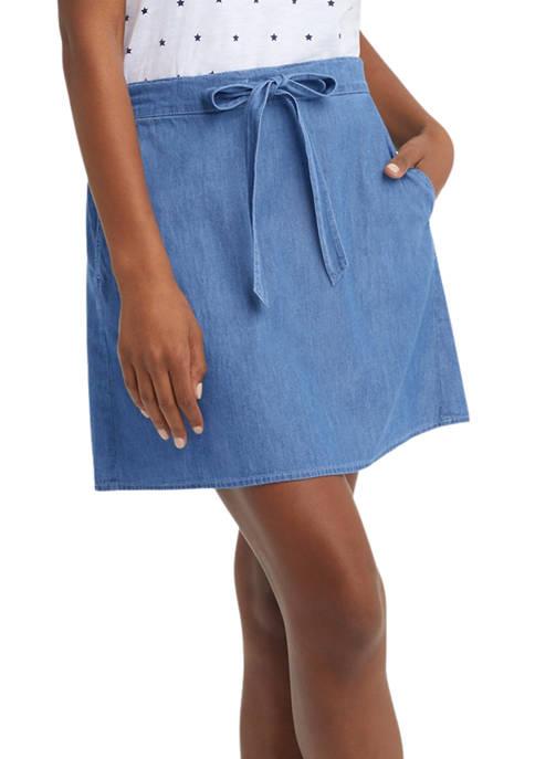 Draper James Womens Tie Waist Skirt in Chambray