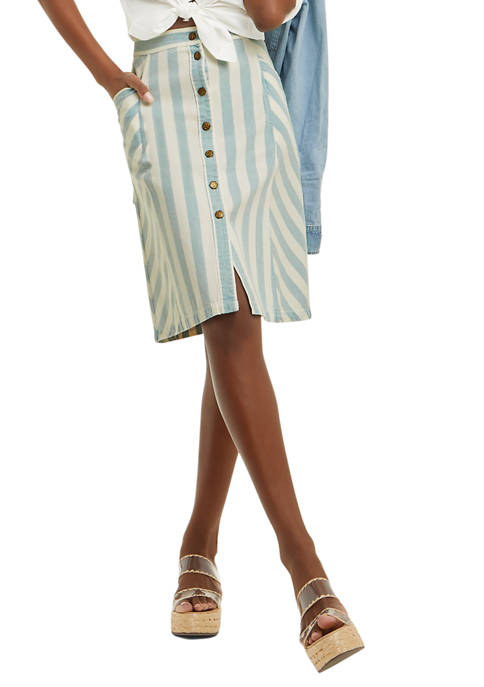 Draper James Womens Button Front Skirt in Striped