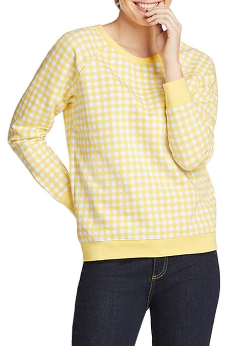 Draper James Womens Crew Neck Gingham Sweatshirt
