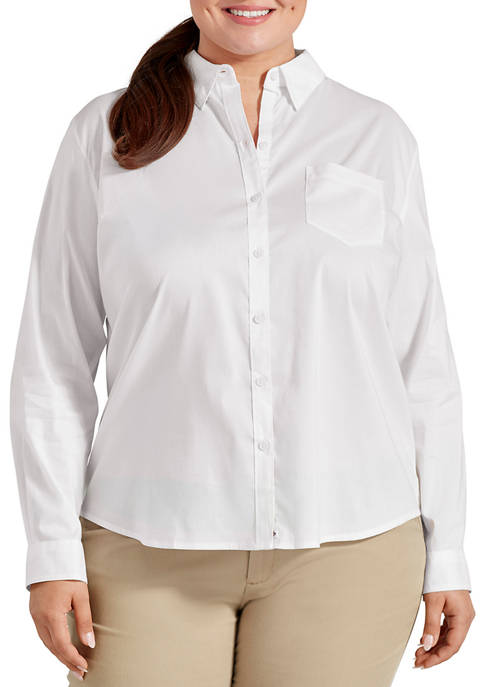 Dickies® Plus Size Long Sleeve Stretch Poplin Work