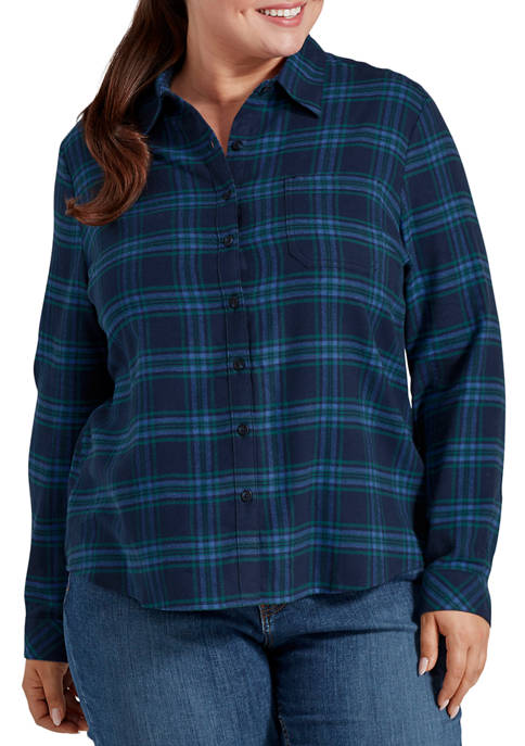 Plus Size Long Sleeve Brushed Flannel Shirt
