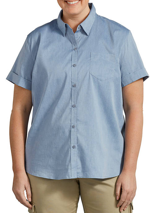 Dickies® Womens Plus Size Stretch Button-Up Shirt