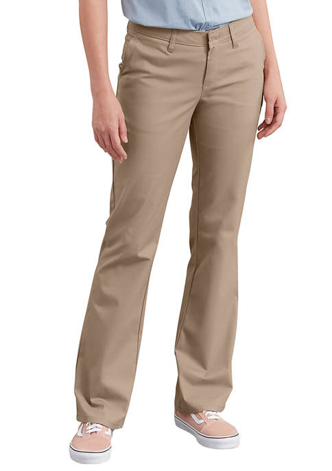 Dickies® Womens Slim Fit Bootcut Stretch Twill Pants