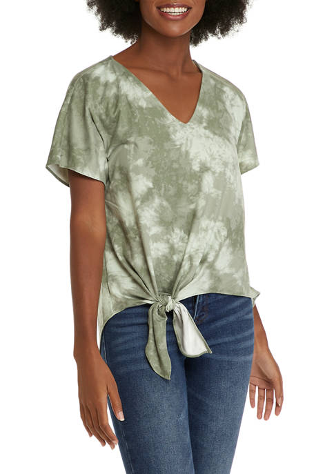 CoCo BIanco Womens Tie Front Tie Dye Top