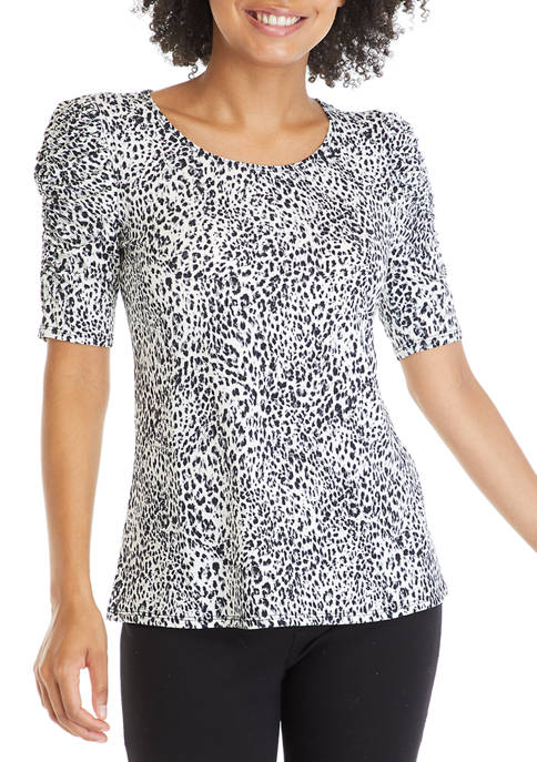 Coco Bianco Womens Ruched Sleeve Iced Leopard Print