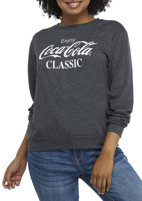 Coca-Cola Juniors Logo Long Sleeve Hacci Graphic Sweatshirt