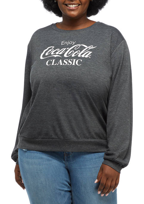 Coca-Cola Plus Size Hacci Logo Graphic Sweatshirt
