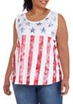 Plus Size Tie Dye Flag Tank