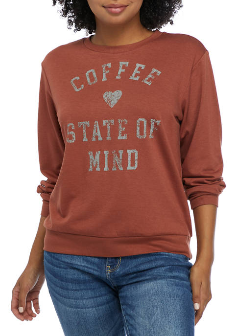 Live and Tell Juniors Long Sleeve Hacci Coffee