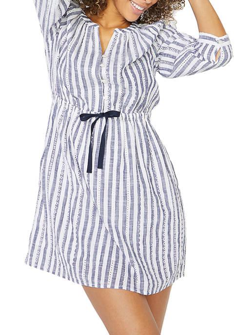 Womens Stripe 3/4 Sleeve Dress