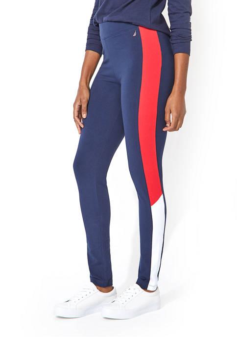 Nautica Womens Color Block Side Panel Leggings