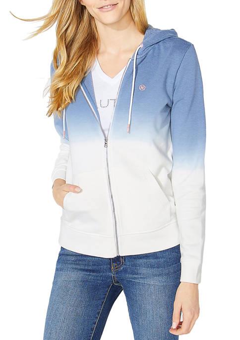 Nautica Womens Ombre Zip Hoodie