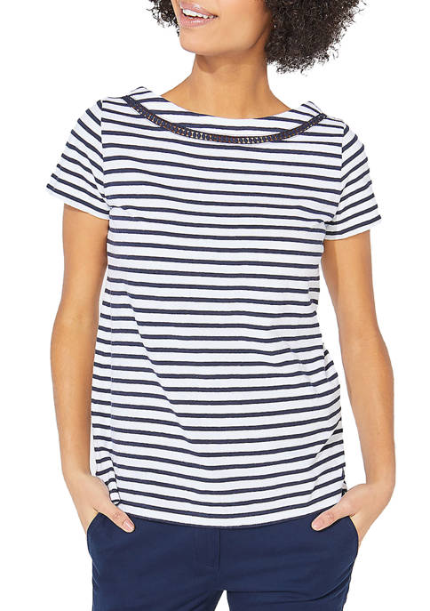 Nautica Womens Short Sleeve Stripe Knit Top