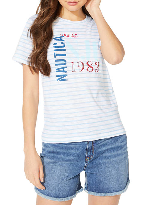 Nautica Womens Jeans Company Embroidered Stripe T-Shirt