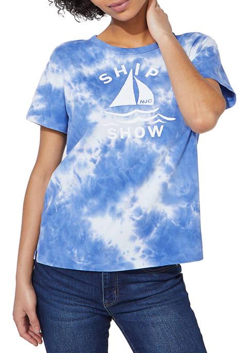 Nautica Womens Jeans Company Tie Dye Graphic T-Shirt