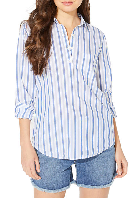 Nautica Womens Jeans Company Long Sleeve Stripe Popover