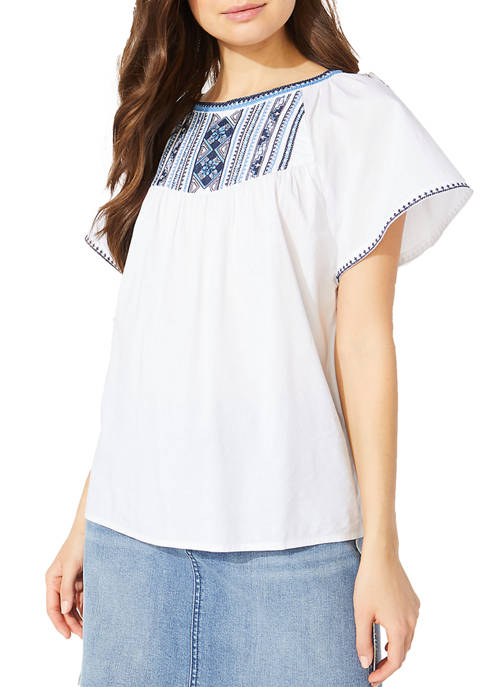 Nautica Womens Embroidered Top