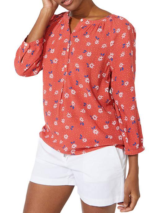 Nautica Womens 3/4 Sleeve Printed Top