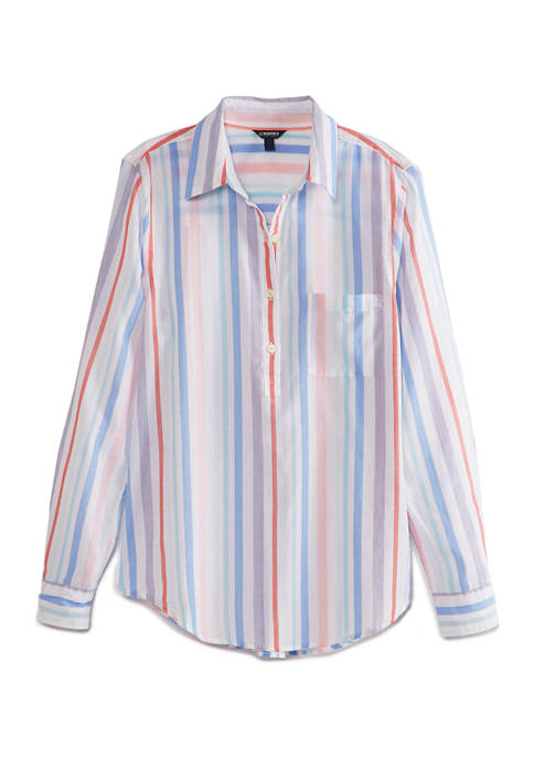 Womens Long Sleeve Multi Color Stripe Shirt