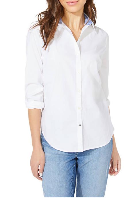 Nautica Long Sleeve Stretch Poplin Shirt