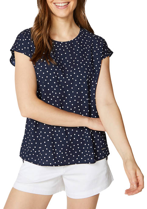 Nautica Womens Dolman Cap Sleeve Dot Print Top