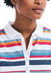 Womens Striped Sleeveless Polo Shirt