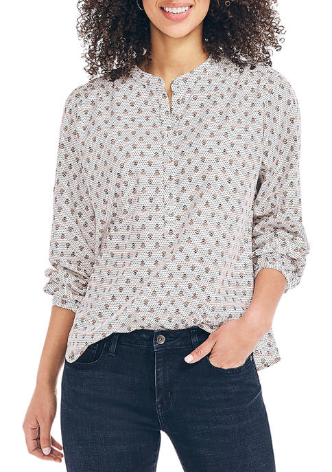 Nautica Womens Sustainably Crafted Floral Print Henley Top