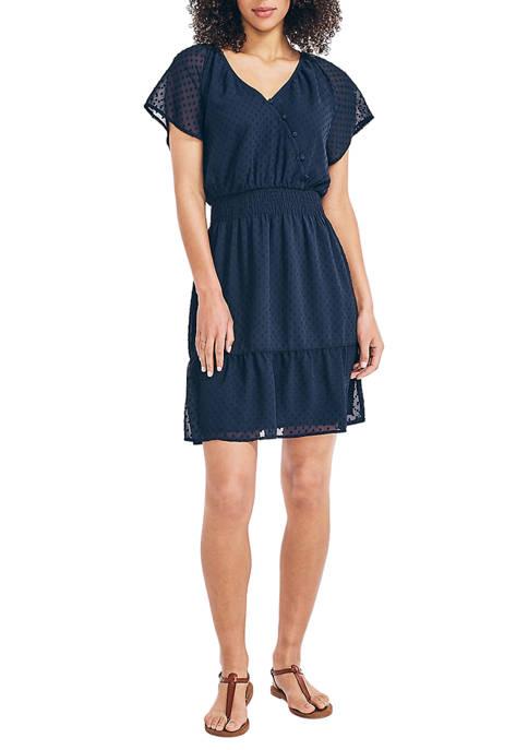 Womens Button Wrap Front Dress
