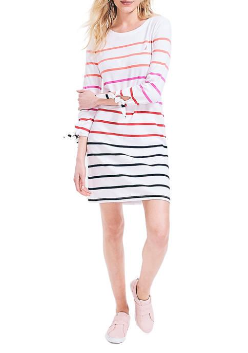 Womens Striped Tie Sleeve Dress