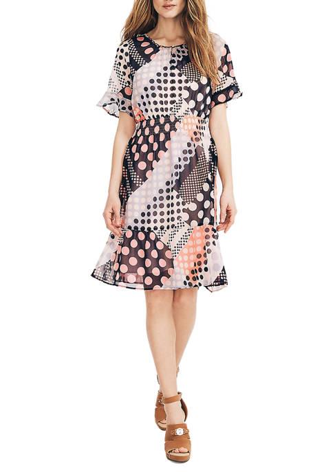 Nautica Womens Chiffon Patchwork Dot Print Dress