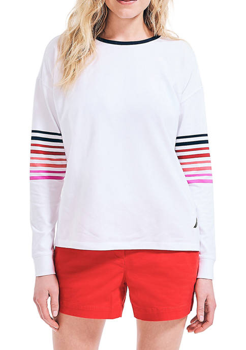 Nautica Womens Sustainably Crafted Striped Sleeve Top