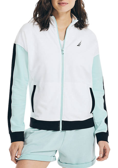 Womens Sustainably Crafted Color Block Logo Jacket