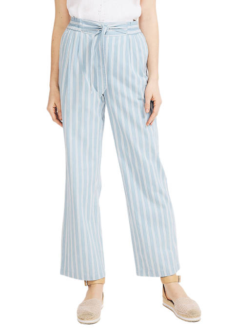 Womens Straight Leg Striped Pants