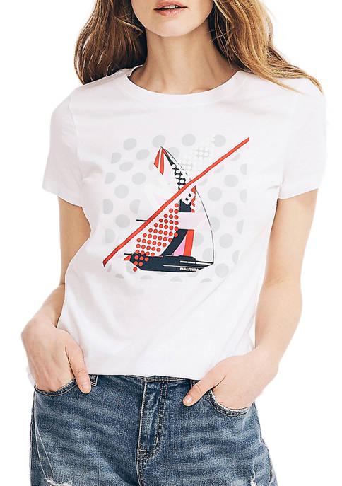 Nautica Womens Sailboat Graphic T-Shirt