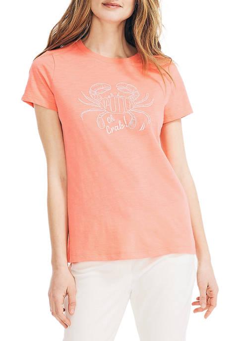 Nautica Womens Oh Crab Graphic T-Shirt
