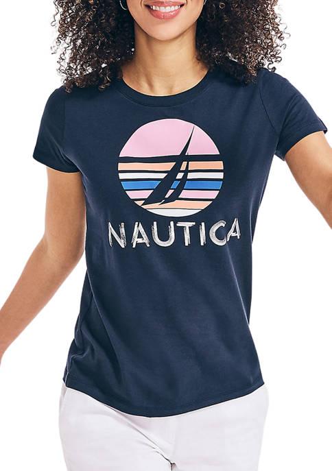 Womens Metallic Foil Graphic T-Shirt