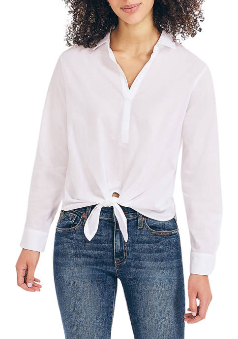 Nautica Womens Sustainably Crafted Striped Tie Front Shirt
