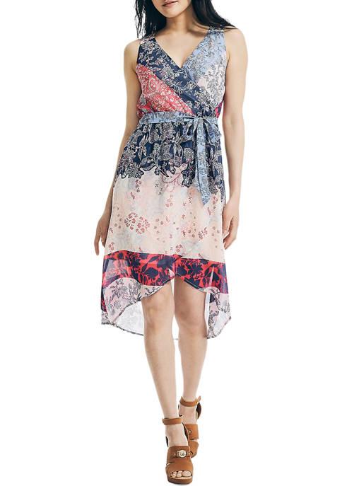 Womens Chiffon Floral Print Wrap Dress