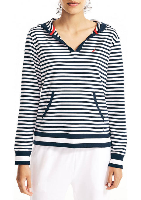Sustainably Crafted Striped Split Neck Hoodie