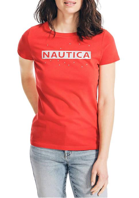 Nautica Womens Foil Graphic Logo T-Shirt